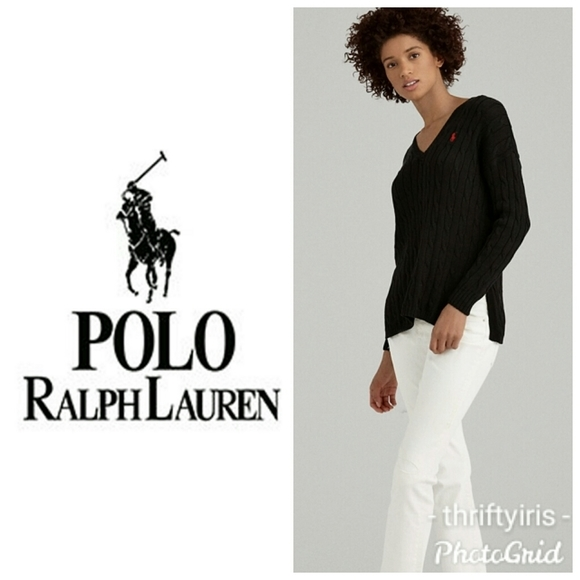 Polo Ralph Lauren Pink Side Slit Cable Sweater-S